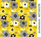 tropical summer concept floral... | Shutterstock .eps vector #607160198