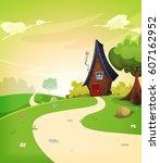 fairy house inside spring... | Shutterstock .eps vector #607162952