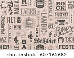 seamless pattern with types of... | Shutterstock . vector #607165682