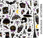 vector magic witch seamless... | Shutterstock .eps vector #607165886