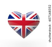 union jack british heart flag.... | Shutterstock . vector #607168352