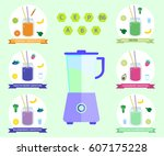 healthy smoothie set with... | Shutterstock .eps vector #607175228