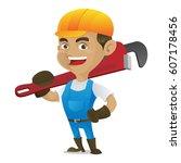 handyman carrying adjustable... | Shutterstock .eps vector #607178456