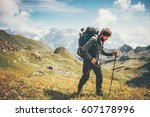 traveler man mountaineering... | Shutterstock . vector #607178996