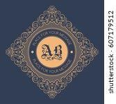 monogram template with... | Shutterstock .eps vector #607179512