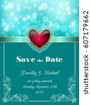save the date card  wedding... | Shutterstock .eps vector #607179662