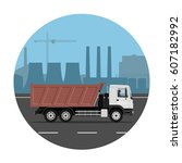 dump truck on the road over... | Shutterstock .eps vector #607182992
