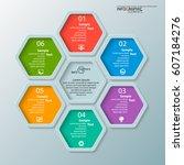 vector abstract 3d paper... | Shutterstock .eps vector #607184276