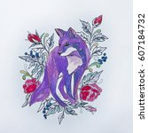 sketch foxes in the flowers on... | Shutterstock . vector #607184732