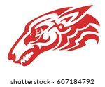 fantastic wolf head created by... | Shutterstock .eps vector #607184792