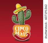 cinco de mayo sombrero  chili... | Shutterstock . vector #607191362