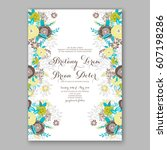 elegant yellow rose wedding... | Shutterstock .eps vector #607198286
