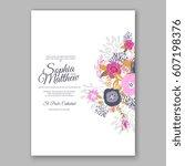 elegant yellow rose wedding... | Shutterstock .eps vector #607198376