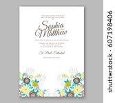 elegant yellow rose wedding... | Shutterstock .eps vector #607198406