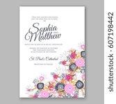 elegant yellow rose wedding... | Shutterstock .eps vector #607198442