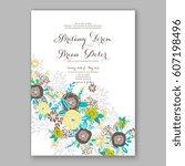 elegant yellow rose wedding... | Shutterstock .eps vector #607198496