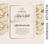antique baroque luxury wedding... | Shutterstock .eps vector #607198736