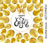 happy easter card with... | Shutterstock .eps vector #607199852