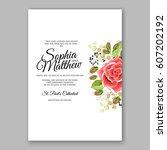 red rose wedding invitation... | Shutterstock .eps vector #607202192