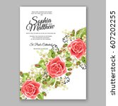 red rose wedding invitation... | Shutterstock .eps vector #607202255