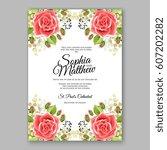 red rose wedding invitation... | Shutterstock .eps vector #607202282