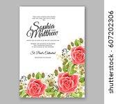 red rose wedding invitation... | Shutterstock .eps vector #607202306