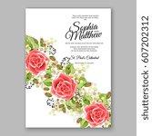 red rose wedding invitation... | Shutterstock .eps vector #607202312