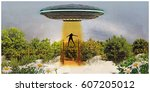 3d illustration of alien... | Shutterstock . vector #607205012