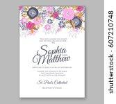 elegant pink rose wedding... | Shutterstock .eps vector #607210748