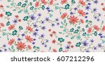 seamless floral pattern in... | Shutterstock .eps vector #607212296
