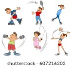 vector illustration of six kids ... | Shutterstock .eps vector #607216202