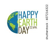 "earth day logo design. ""happy... | Shutterstock .eps vector #607216322"