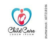 motherhood logo. baby care ...   Shutterstock .eps vector #607218146