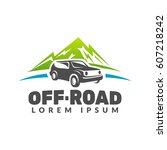 off road car with mountains... | Shutterstock .eps vector #607218242