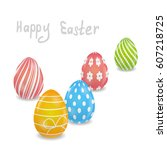 white easter card with a group... | Shutterstock .eps vector #607218725
