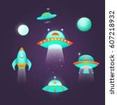 space icon set. collection of... | Shutterstock . vector #607218932