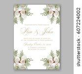 elegant white peony wedding...   Shutterstock .eps vector #607224002