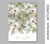 elegant white peony wedding... | Shutterstock .eps vector #607224032