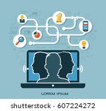 flat vector business... | Shutterstock .eps vector #607224272