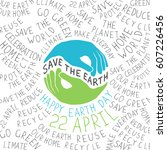 earth day poster. hands shaped... | Shutterstock .eps vector #607226456