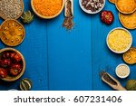various colorful spices and... | Shutterstock . vector #607231406