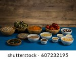 various colorful spices and... | Shutterstock . vector #607232195