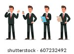 set of businessman character... | Shutterstock .eps vector #607232492