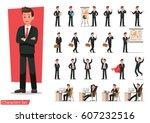 set of businessman character... | Shutterstock .eps vector #607232516
