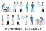 set of doctor character design. | Shutterstock .eps vector #607232525