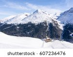 Alps restaurant cottage with mountain view in ski resort Solda, Italy - stock photo