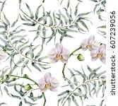 watercolor tropic pattern with...   Shutterstock . vector #607239056