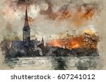 watercolour painting of winter... | Shutterstock . vector #607241012