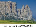 schlern sciliar ridge with... | Shutterstock . vector #607241756