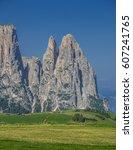 schlern sciliar ridge with... | Shutterstock . vector #607241765
